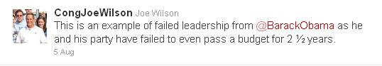 Rep. Joe Wilson tweet