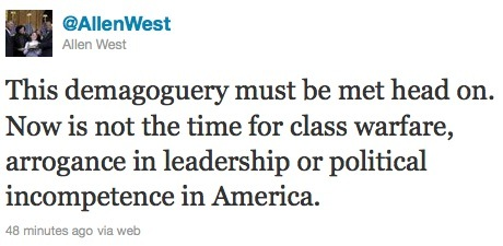 Rep. Allen West tweet